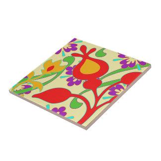 Flores enrrolladas coloridas brillantes Trivet Azulejo Cuadrado Pequeño