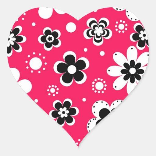 Flores enrrolladas en rosas fuertes pegatina de corazon personalizadas