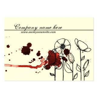 Flores enturbiadas, rojas tarjetas de visita