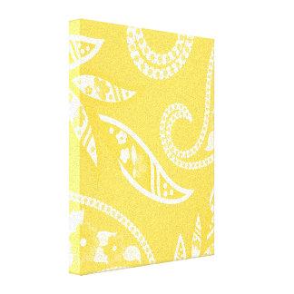 Flores estilizadas amarillas impresión en lienzo estirada