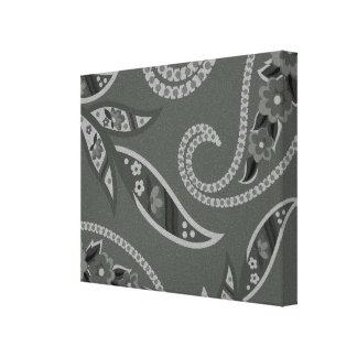 Flores estilizadas grises impresiones de lienzo