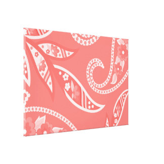 Flores estilizadas rojas lienzo envuelto para galerías