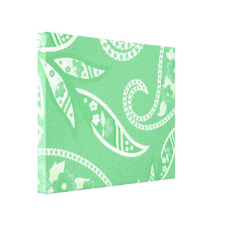 Flores estilizadas verdes impresión en tela