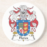 Flores Family Crest Beverage Coasters