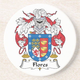Flores Family Crest Drink Coaster