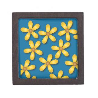Flores felices azules caja de recuerdo de calidad