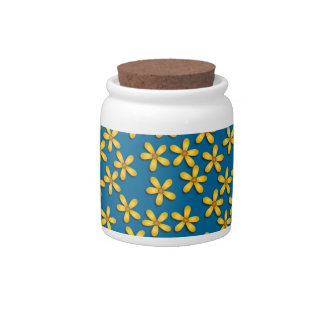 Flores felices azules tarro de cerámica para dulces