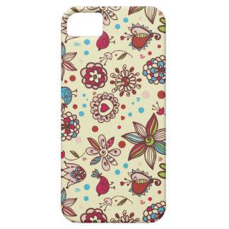 Flores felices con diseño de los pájaros iPhone 5 Case-Mate cárcasa