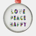 Flores felices de la paz del amor ornamento de reyes magos