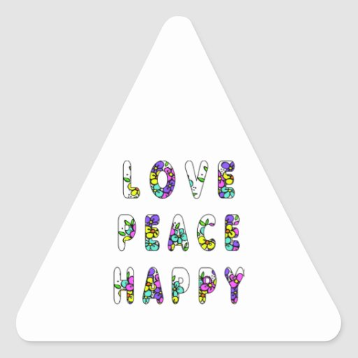 Flores felices de la paz del amor calcomanías trianguladas personalizadas