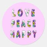 Flores felices de la paz del amor pegatina redonda