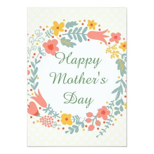 """Flores felices de la primavera del día de madre invitación 5"""" x 7"""""""
