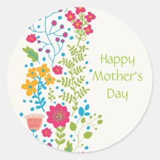 Flores felices de la primavera del día de madre pegatina redonda