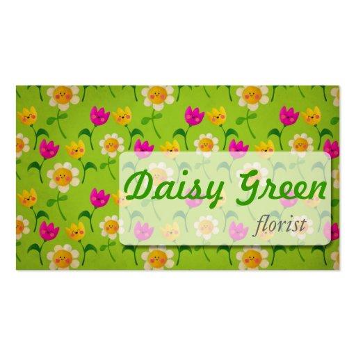 Flores felices de la primavera tarjetas de visita