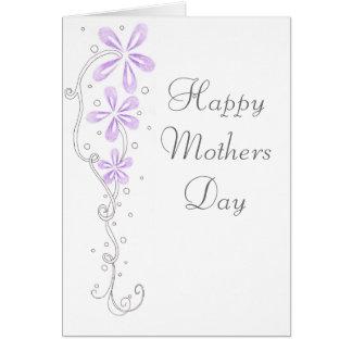 Flores felices de la púrpura del día de madres tarjeta de felicitación