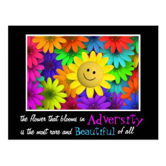 Flores felices lindas de la cara tarjetas postales
