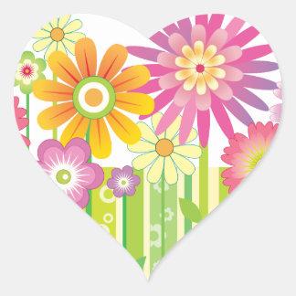 Flores felices pegatina en forma de corazón