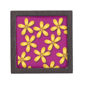 Flores felices púrpuras cajas de recuerdo de calidad