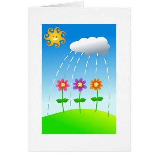 Flores felices tarjeta de felicitación