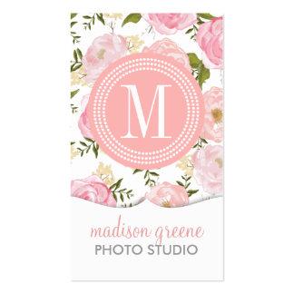Flores femeninas del melocotón coralino floral del tarjetas de visita