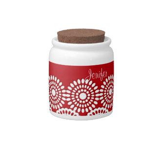 Flores femeninas del vintage del cordón rojo del g jarras para caramelos