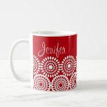 Flores femeninas del vintage del cordón rojo del g tazas de café