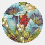 """Flores """"florales"""" azules del vintage etiqueta"""