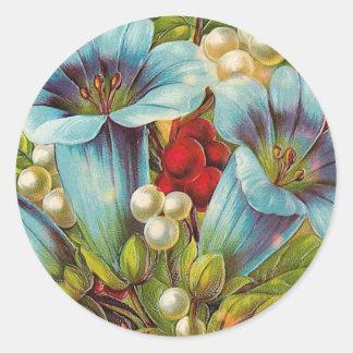 "Flores ""florales"" azules del vintage pegatina redonda"