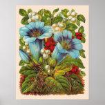 """Flores """"florales"""" azules del vintage posters"""