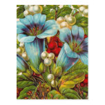 "Flores ""florales"" azules del vintage tarjeta postal"