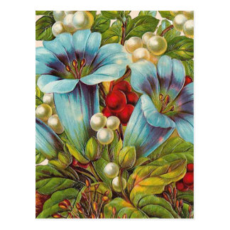 "Flores ""florales"" azules del vintage tarjetas postales"