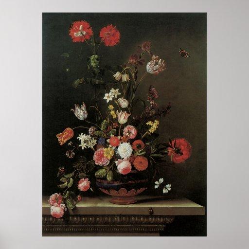 Flores florales barrocas de la vida del vintage aú impresiones