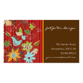 Flores florales caprichosas rojas del pájaro de la tarjetas de visita