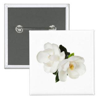 Flores florales de la magnolia de las magnolias pin cuadrada 5 cm