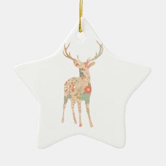 Flores florales de la silueta de los ciervos adorno navideño de cerámica en forma de estrella