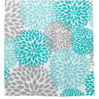 Flores florales de las dalias del gris de azules cortina de baño