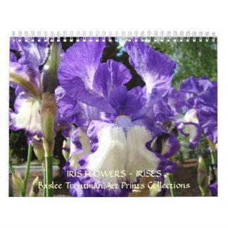 Flores florales del iris de la fotografía de la calendario