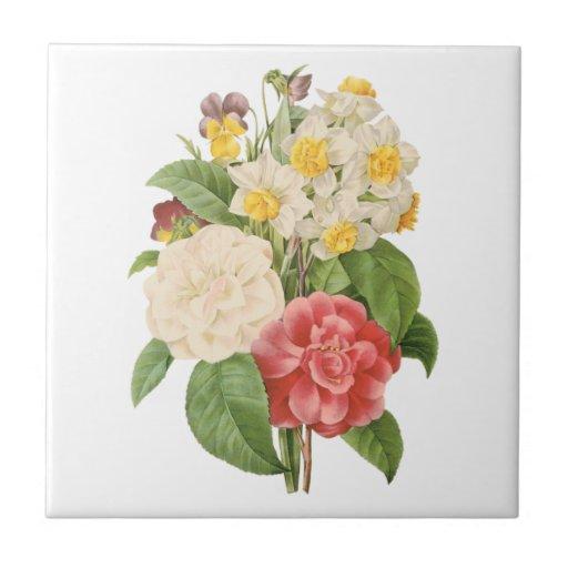 Flores florales del narciso de Camelia del vintage Azulejo Cuadrado Pequeño