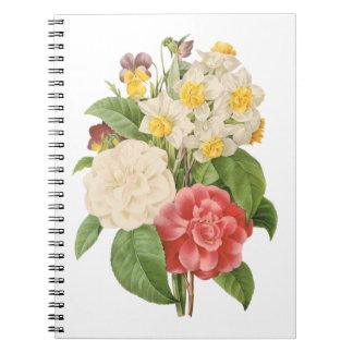 Flores florales del narciso de Camelia del vintage Libretas