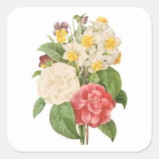 Flores florales del narciso de Camelia del vintage Pegatina Cuadrada