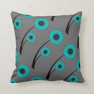 Flores florales del negro del gris azul del trullo cojín
