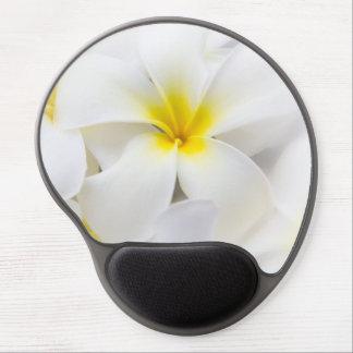 Flores florales del Plumeria del Frangipani blanco Alfombrillas De Raton Con Gel