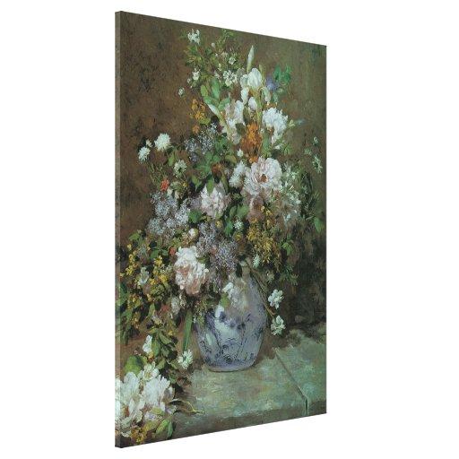 Flores florales del vintage, ramo de la primavera impresión en lona estirada