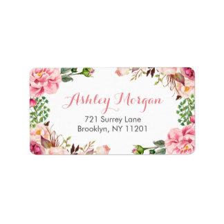 Flores florales elegantes románticas hermosas etiqueta de dirección