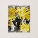 Flores florecientes del cactus amarillo rompecabezas con fotos