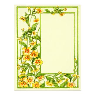 Flores florecientes del jardín de la vid de la flo membrete personalizado