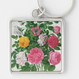 Flores florecientes del vintage, rosas del jardín llavero cuadrado plateado