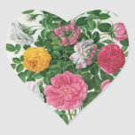 Flores florecientes del vintage, rosas del jardín pegatina en forma de corazón