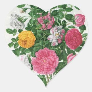 Flores florecientes del vintage, rosas del jardín pegatina de corazon