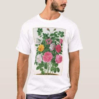 Flores florecientes del vintage, rosas del jardín playera
